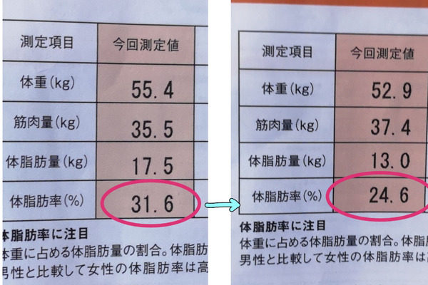 体脂肪の計測結果
