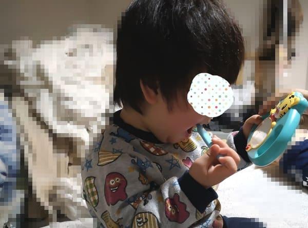 しまじろうのはみがきミラーで歯を磨く息子