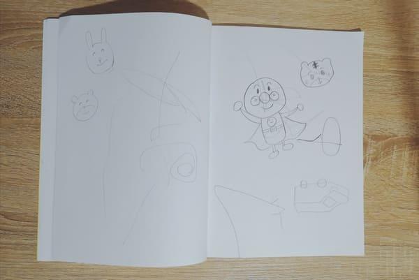 息子がシッターさんと描いたお絵かき