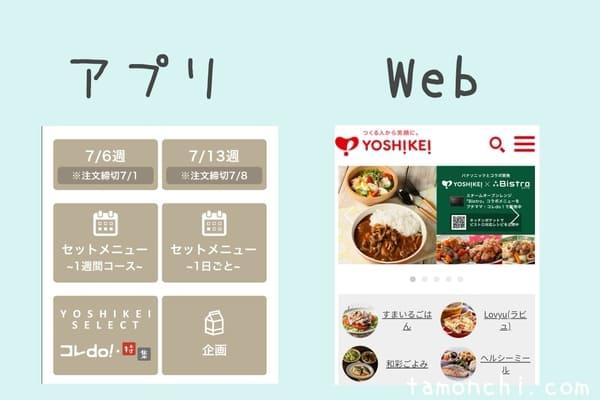 アプリとWebサイトのスクショ比較