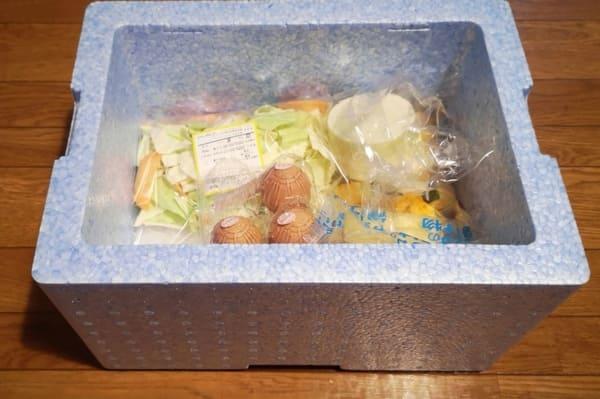 保冷ボックスに入った食材