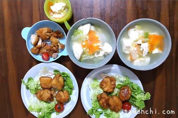 お試しメニューの一例(唐揚げ、野菜スープ)