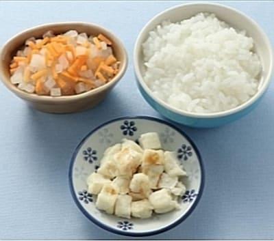 豆腐ステーキ、大根と人参の柔らか煮