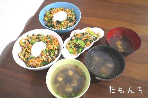 ジューシーそぼろと野菜のビビンバの調理後写真。