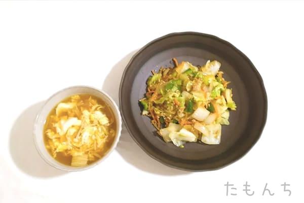 彩り野菜とそぼろの中華炒めの調理後写真