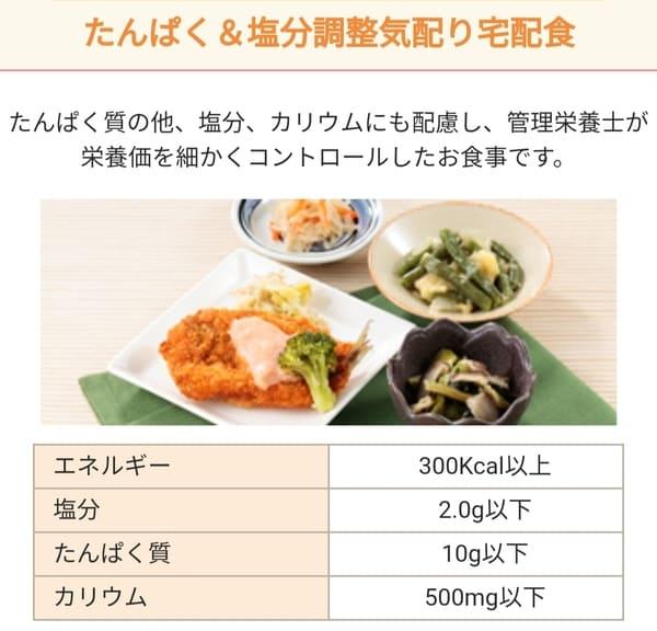 たんぱく&塩分調整気配り宅食便のメニュー例