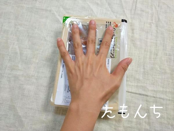 私の手とお弁当箱を比較した写真